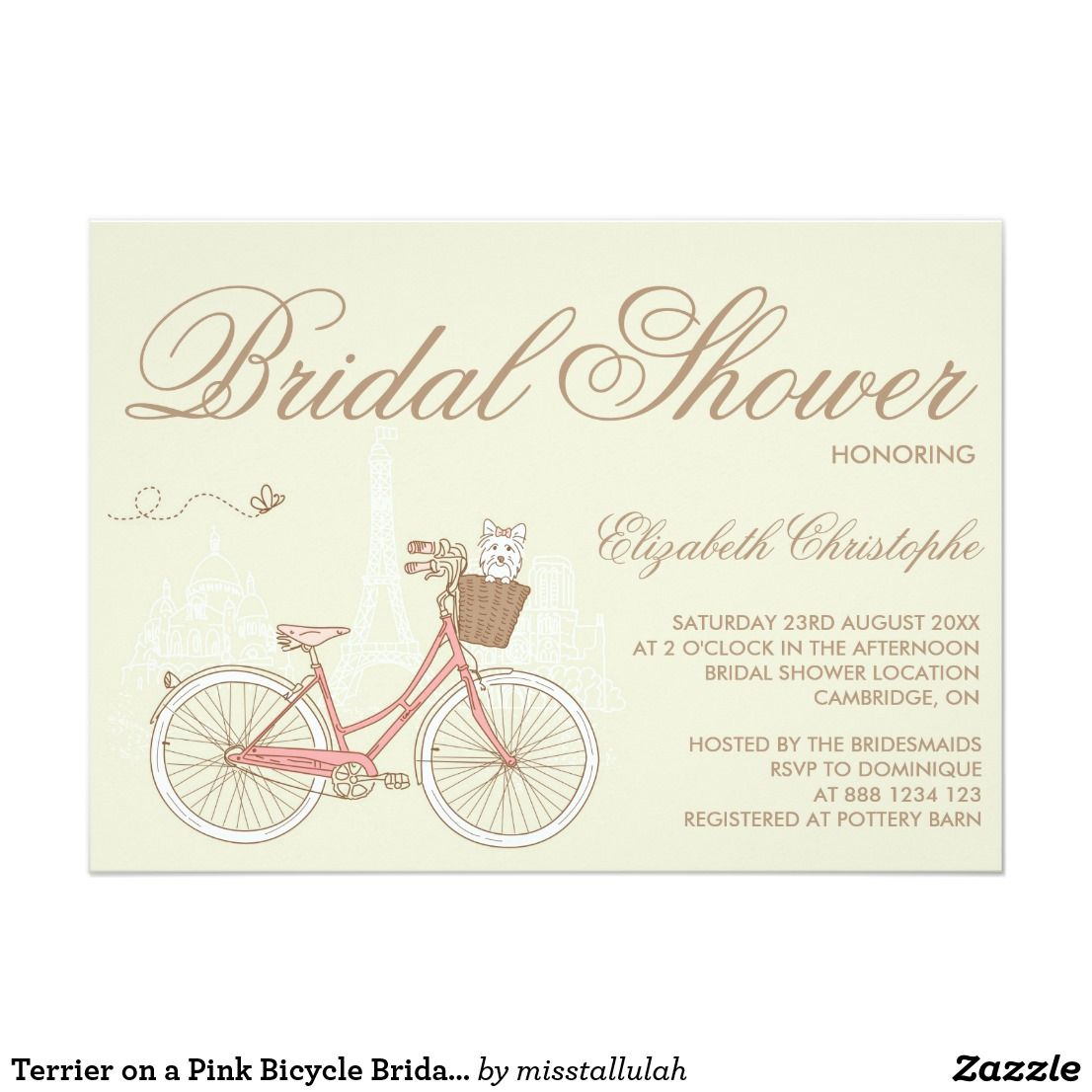 Terrier on a pink bicycle bridal shower invitation shower sweet terrier on a pink bicycle bridal shower invitation from zazzle filmwisefo