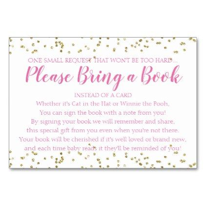 Book request gold confetti pink girl baby shower card individual book request gold confetti pink girl baby shower card individual customized unique ideas designs custom negle Images