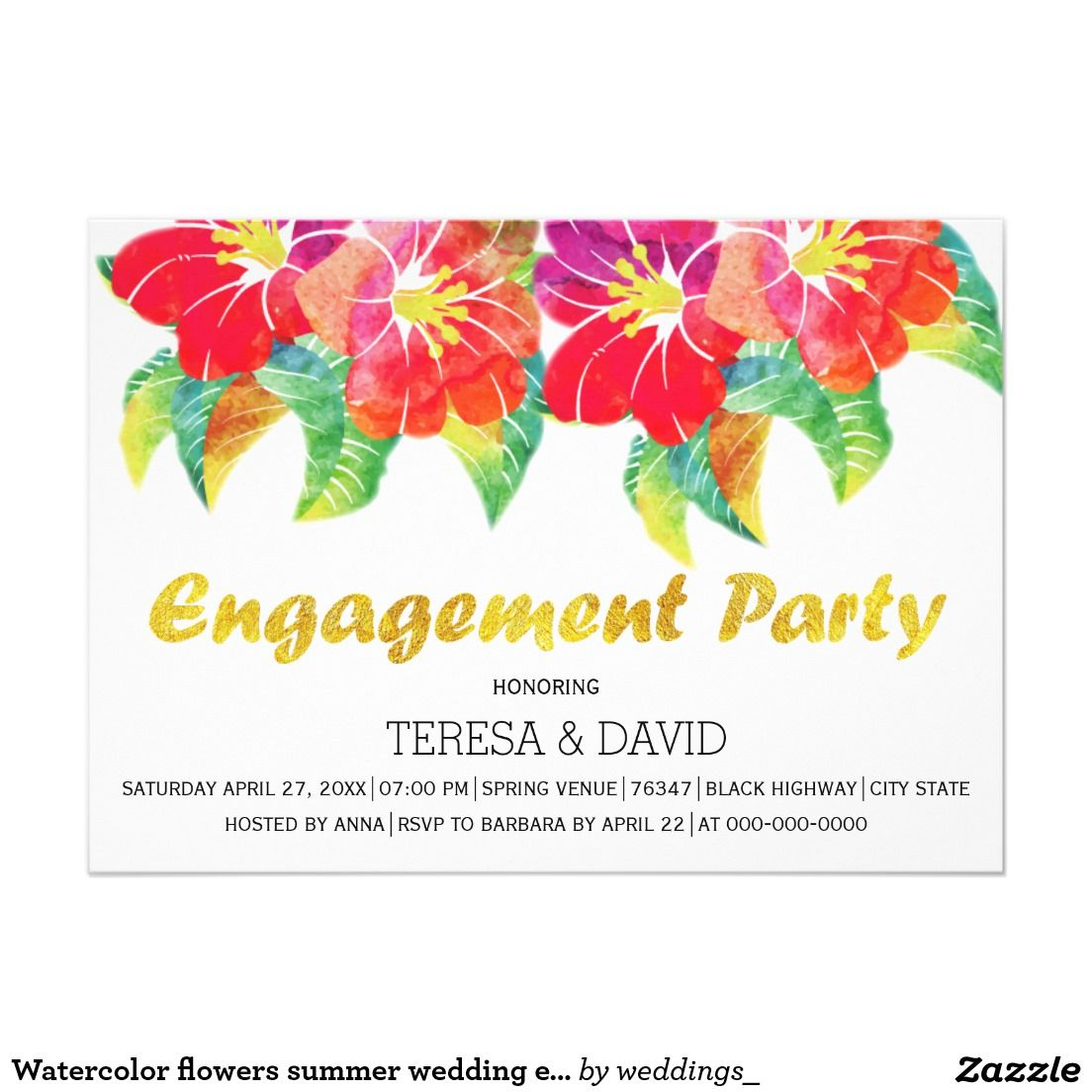 Watercolor flowers summer wedding engagement party card | Wedding ...