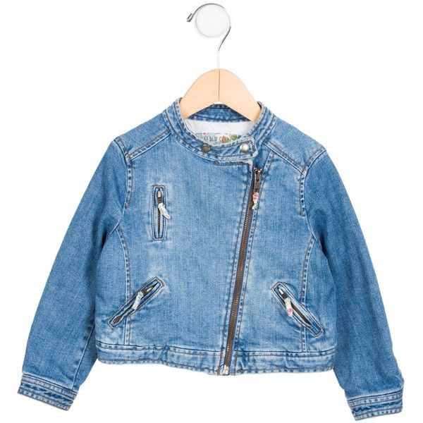 Pre-owned Bonpoint Girls' Denim Zip-Up Jacket ($65) ❤ liked on Polyvore featuring blue