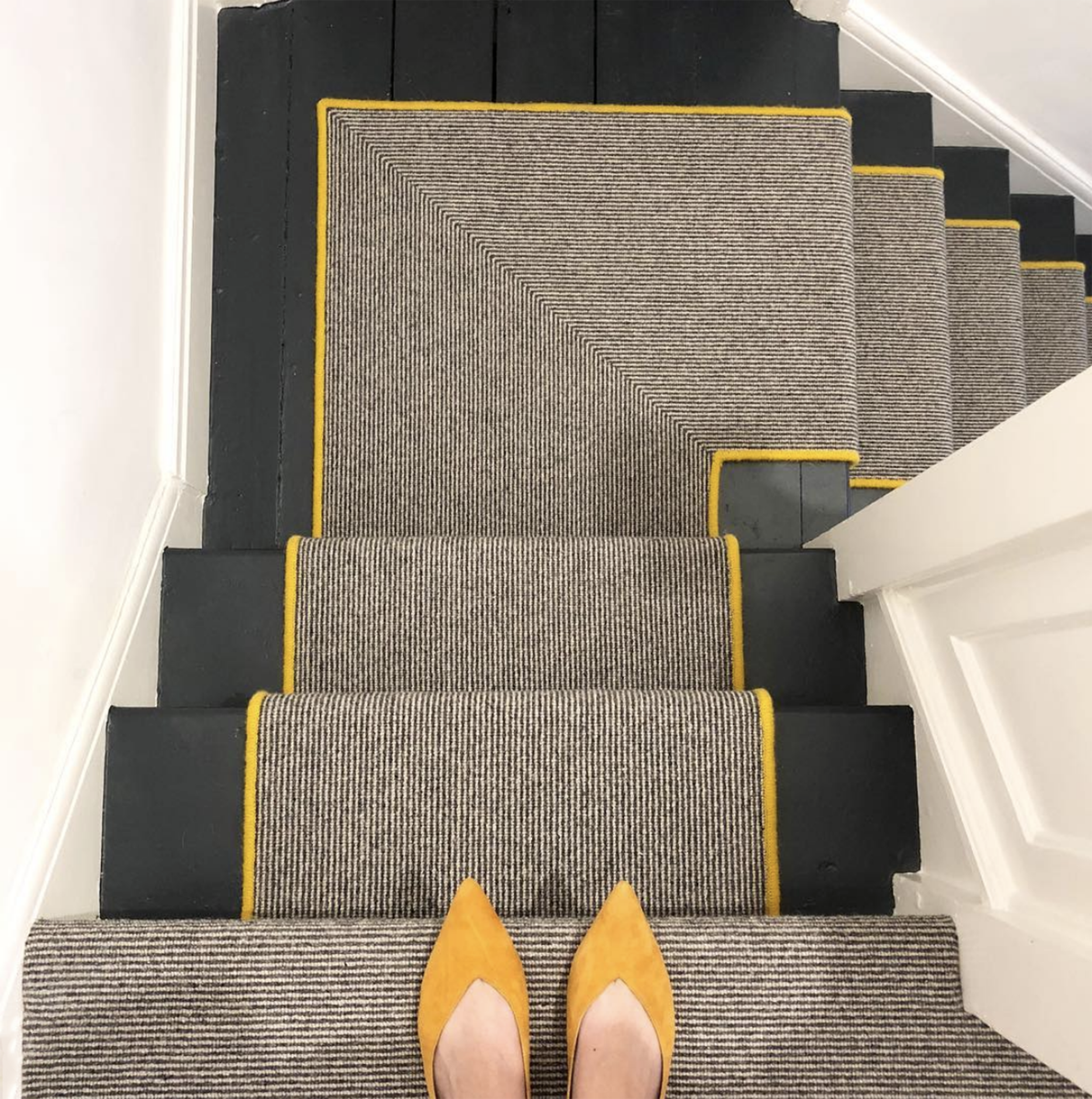 Should I Add A Carpet Or Rug Runner To My Mountain House Staircase Stair Runner Carpet Black Painted Stairs Carpet Stairs