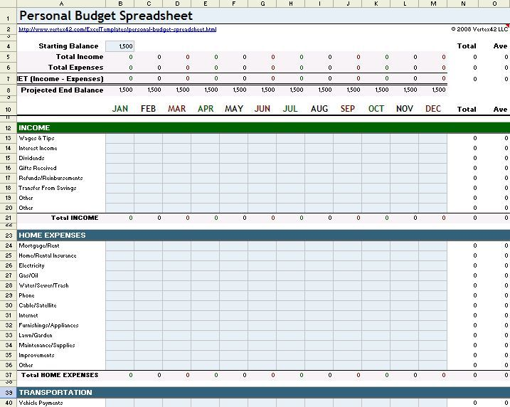 budget templates home template business plan best spreadsheet - printable accounting forms