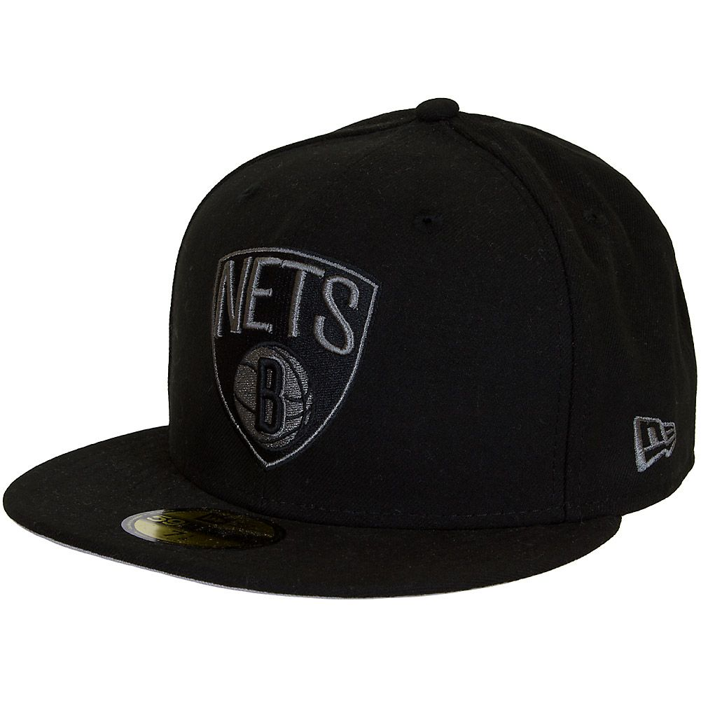 NEW ERA MEN/'S BROOKLYN NETS NEW YORK 59FIFTY FITTED HAT ! BLACK//WHITE