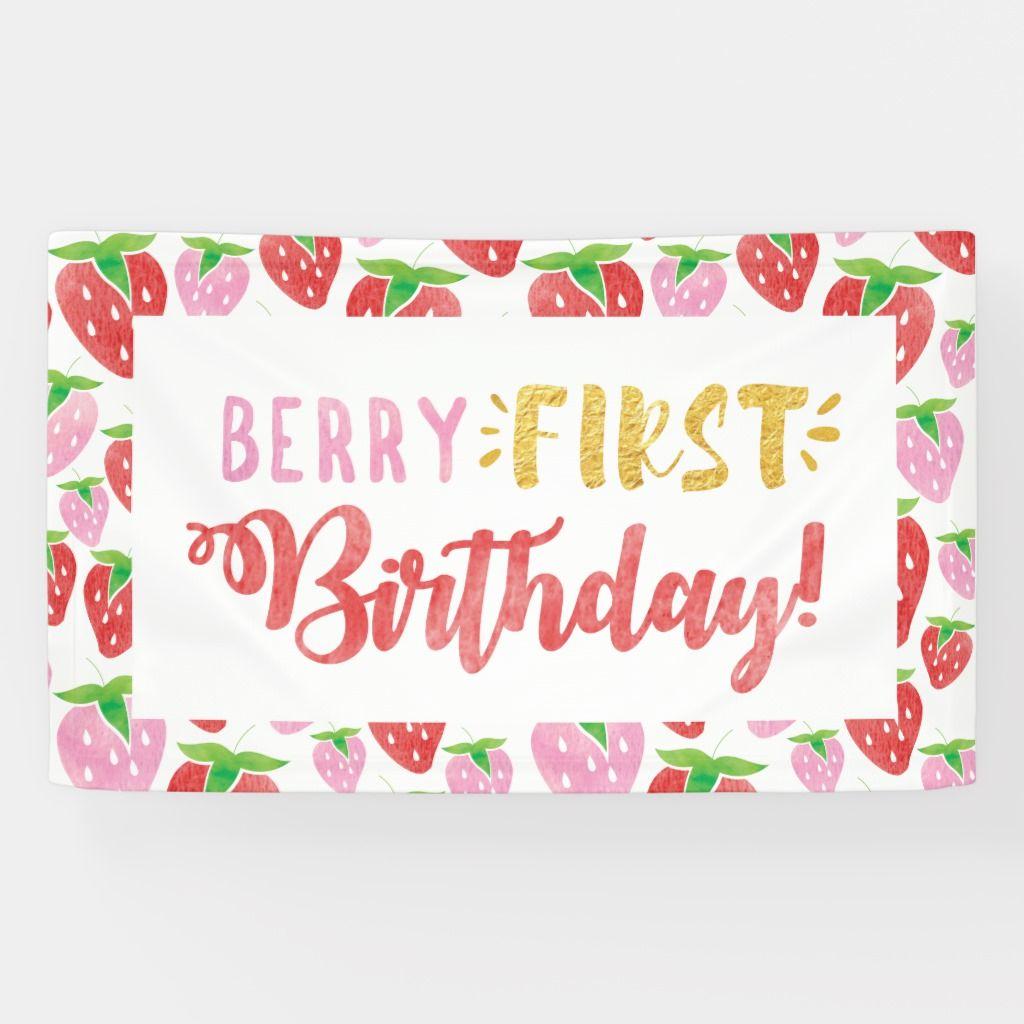 Berry First Birthday milestone monthly banner