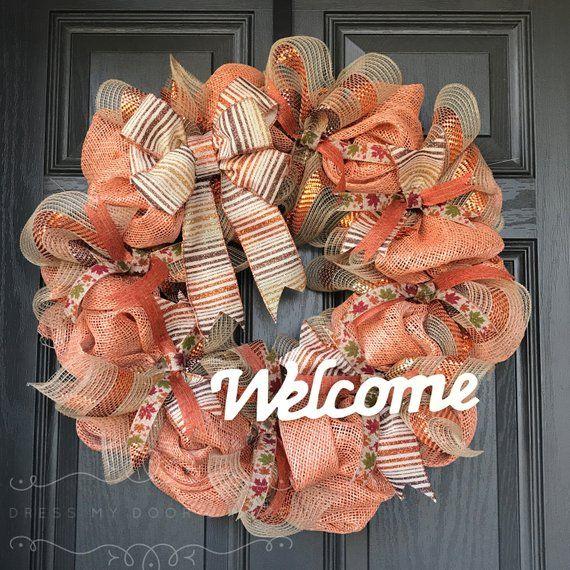Photo of Fall Wreath – Autumn Wreath – Deco Mesh Wreath – Welcome Wreath –