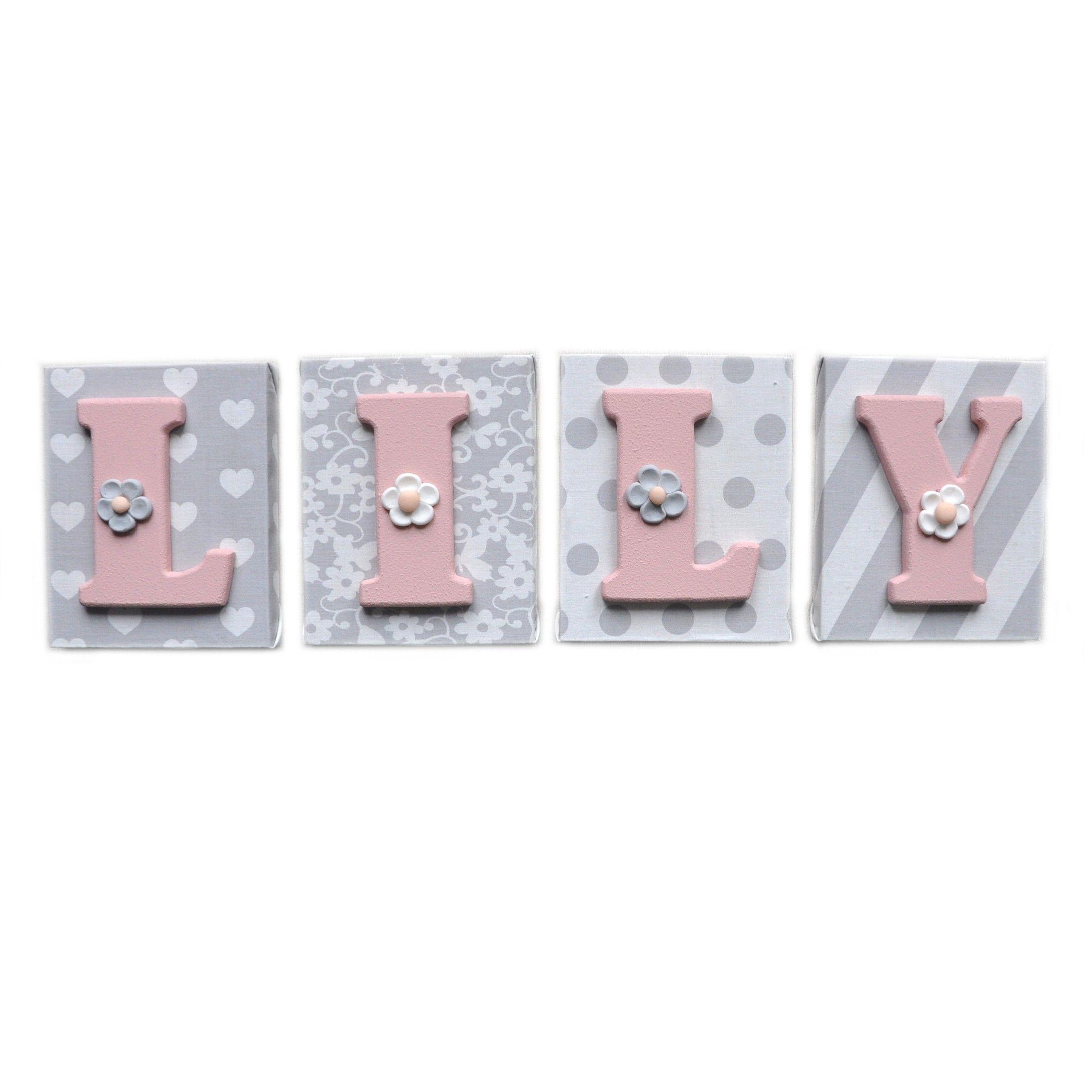 Bloc lettre pr nom en bois et tissu imprim pour chambre for Modele chambre rose