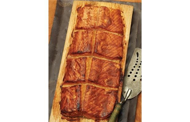 Cedar-Planked Salmon with Hoisin-Mustard Glaze, recipe from Weber's Charcoal Grilling.
