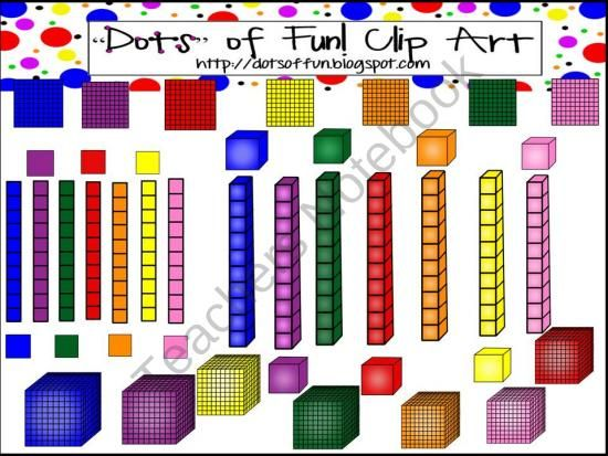 Colorful Base Ten Set 3D and Flat product from Dots-of-Fun-Clip-Art on TeachersNotebook.com