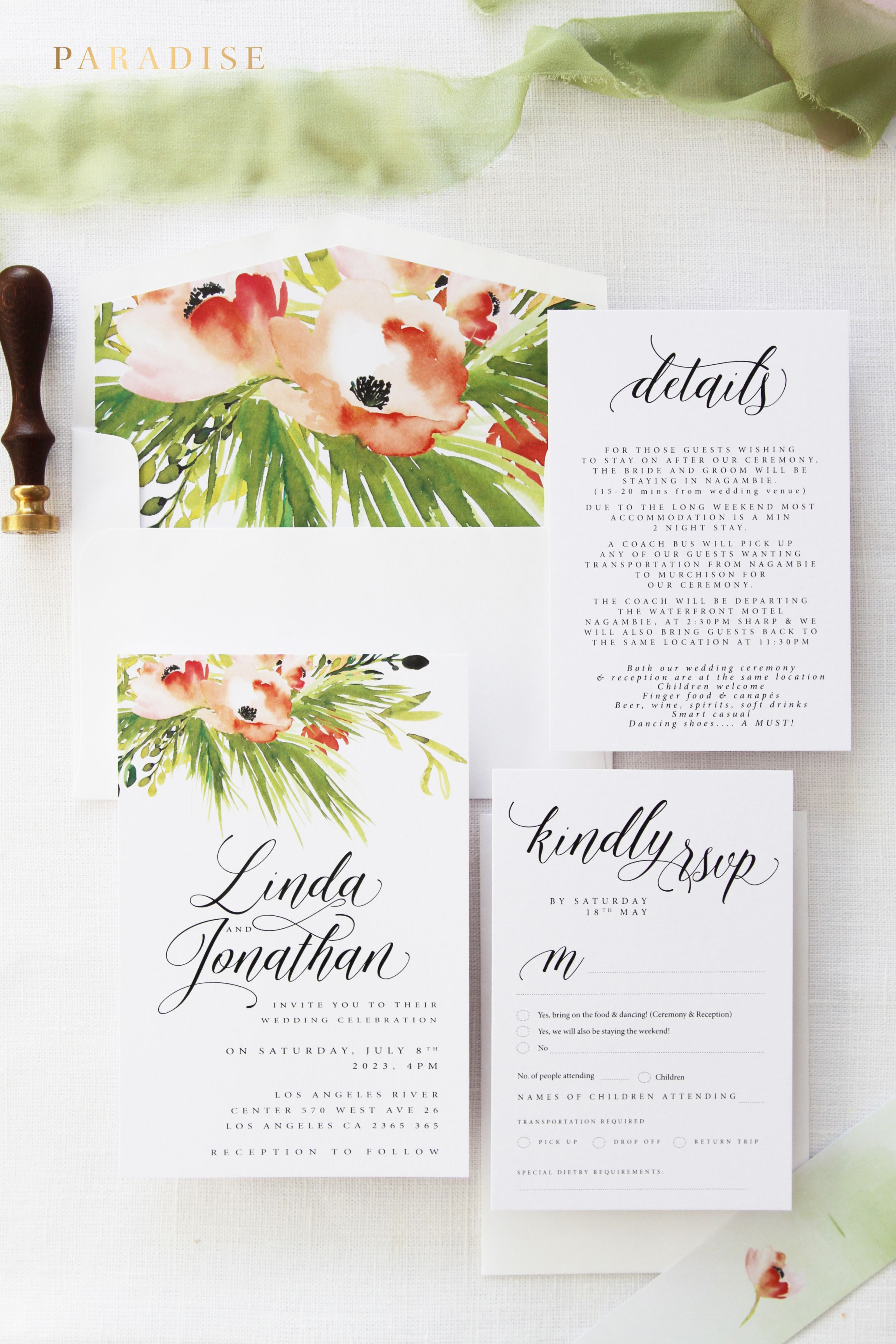 Linda Green And Coral Orange Wedding Invitation Kits Beach Wedding