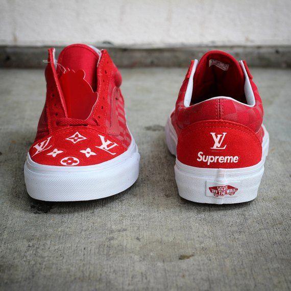 63754e44ab5 LV x Supreme Vans Old Skool Tonal Check Custom Shoe Louis Vuitton  Collaboration
