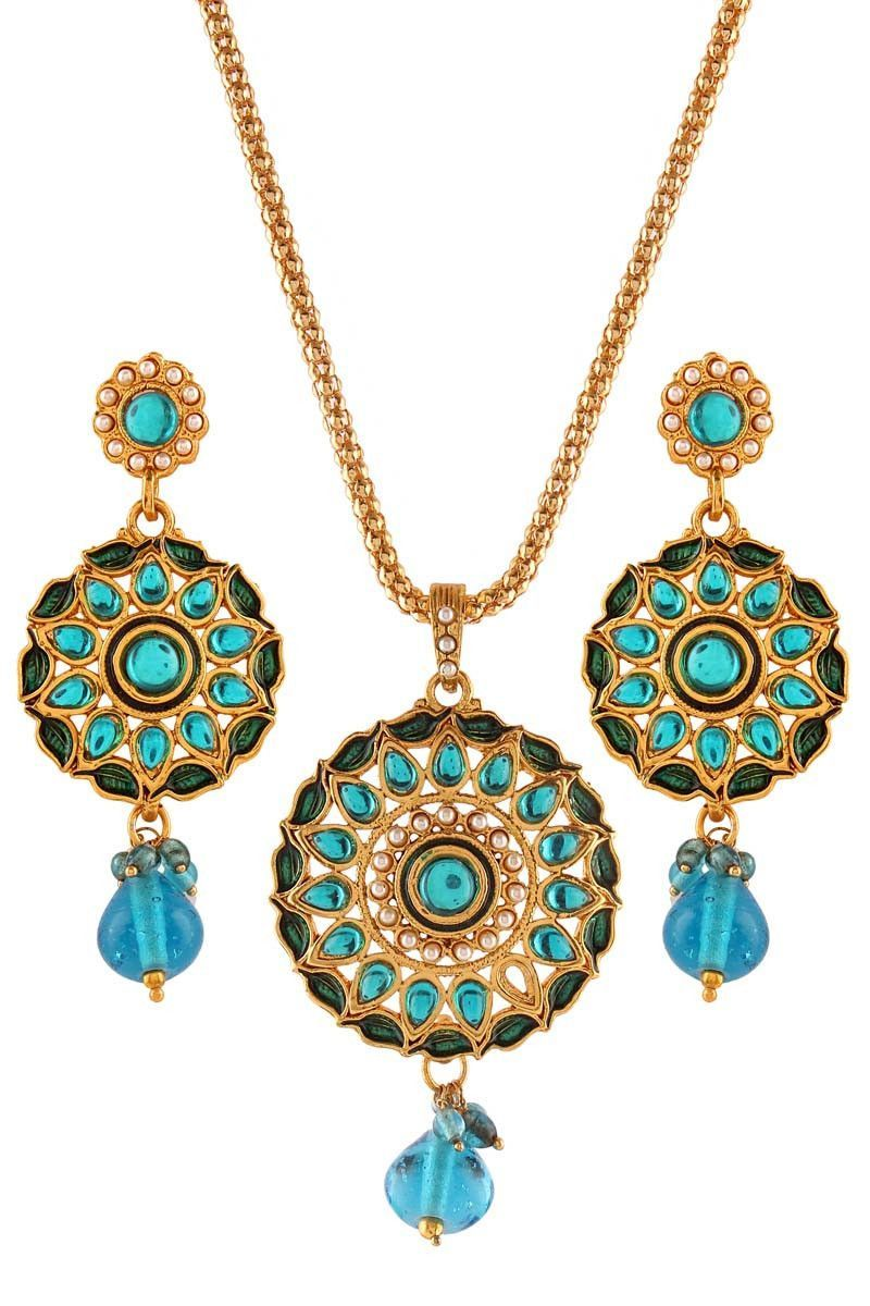 Blue gold plated pearl pendant set products pinterest pendant