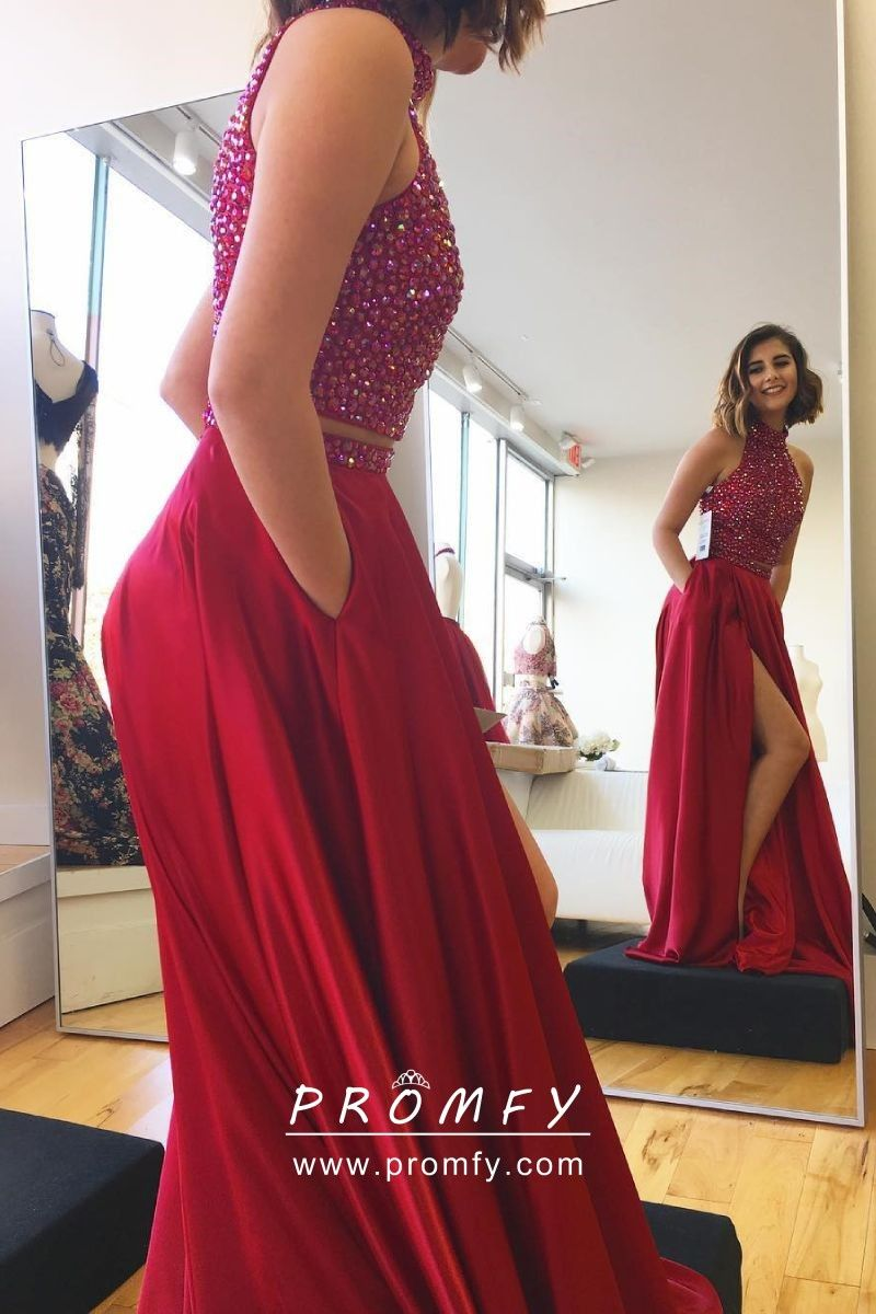 3aec1c7aca3 Sparkly diamond crop top and high split skirt red satin designer two-piece  long prom dress with pockets.