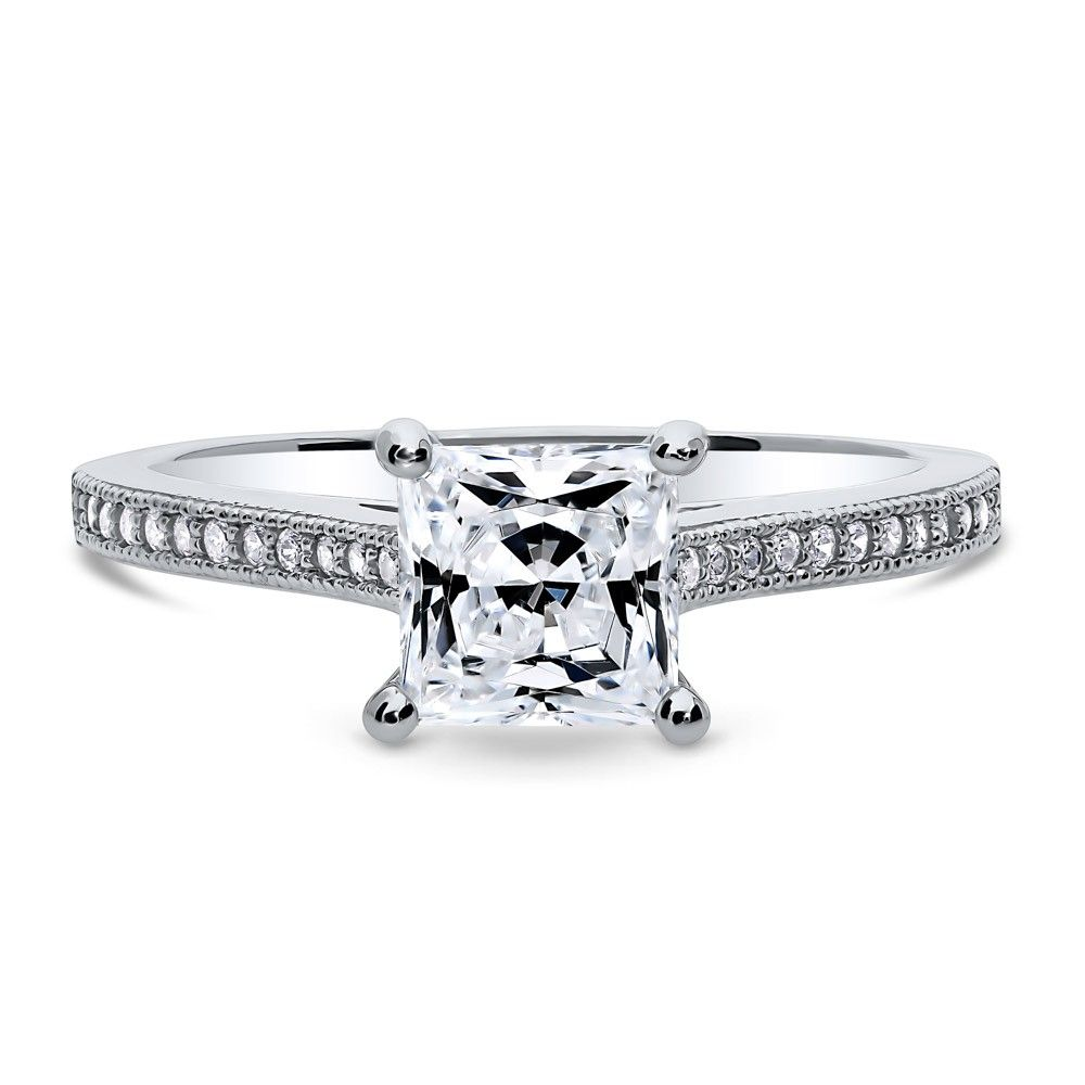 Princess Cut Clear Cubic Zirconia Engagement Ring Ring Sterling Silver