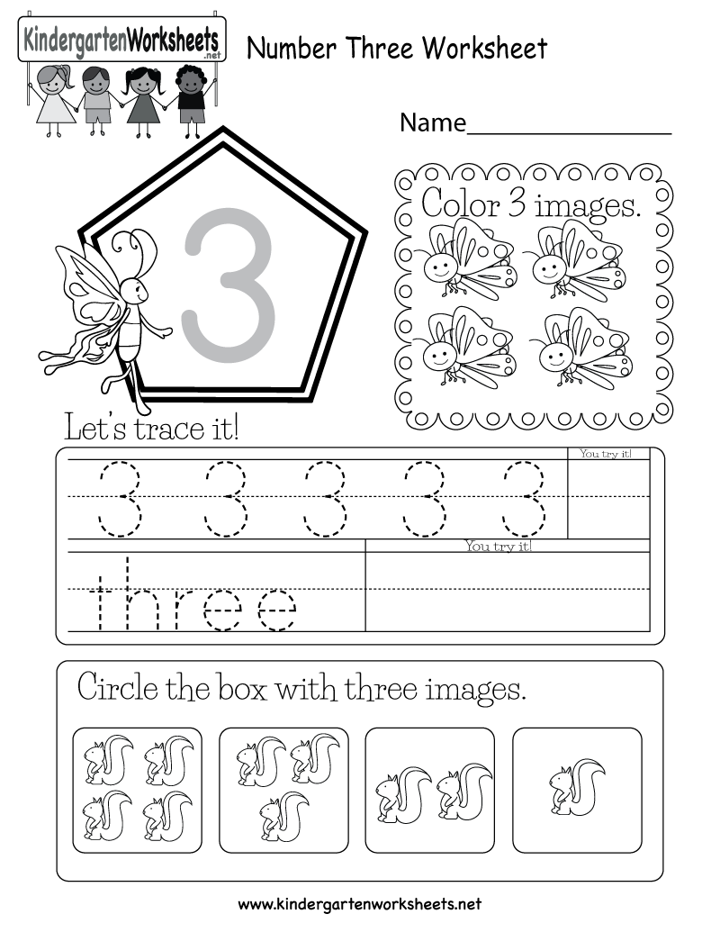 This is a number 3 activity worksheet. Kids can trace the ...
