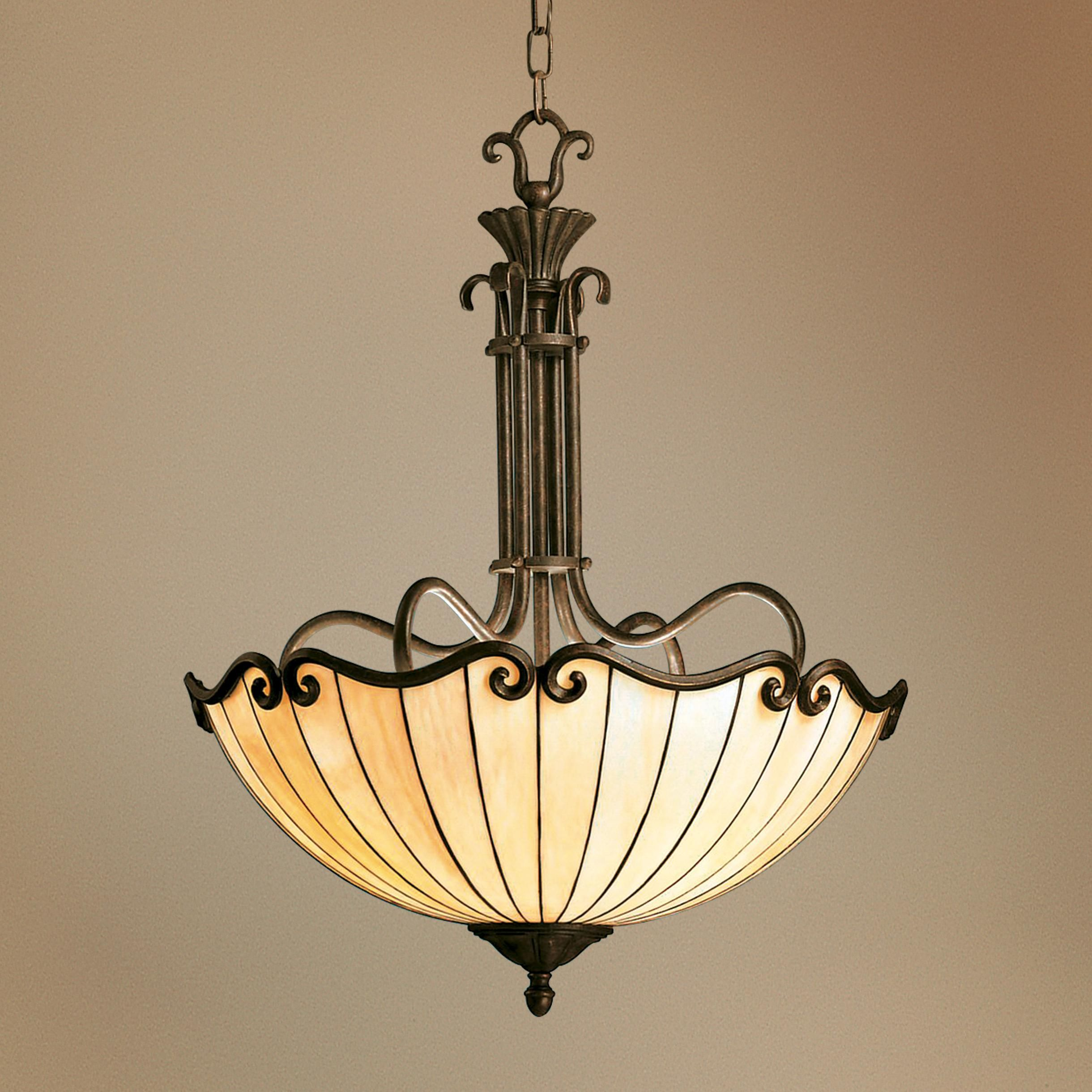 Art Deco Style & Light Art Nouveau Tiffany Style Bowl Chandelier Antique Light