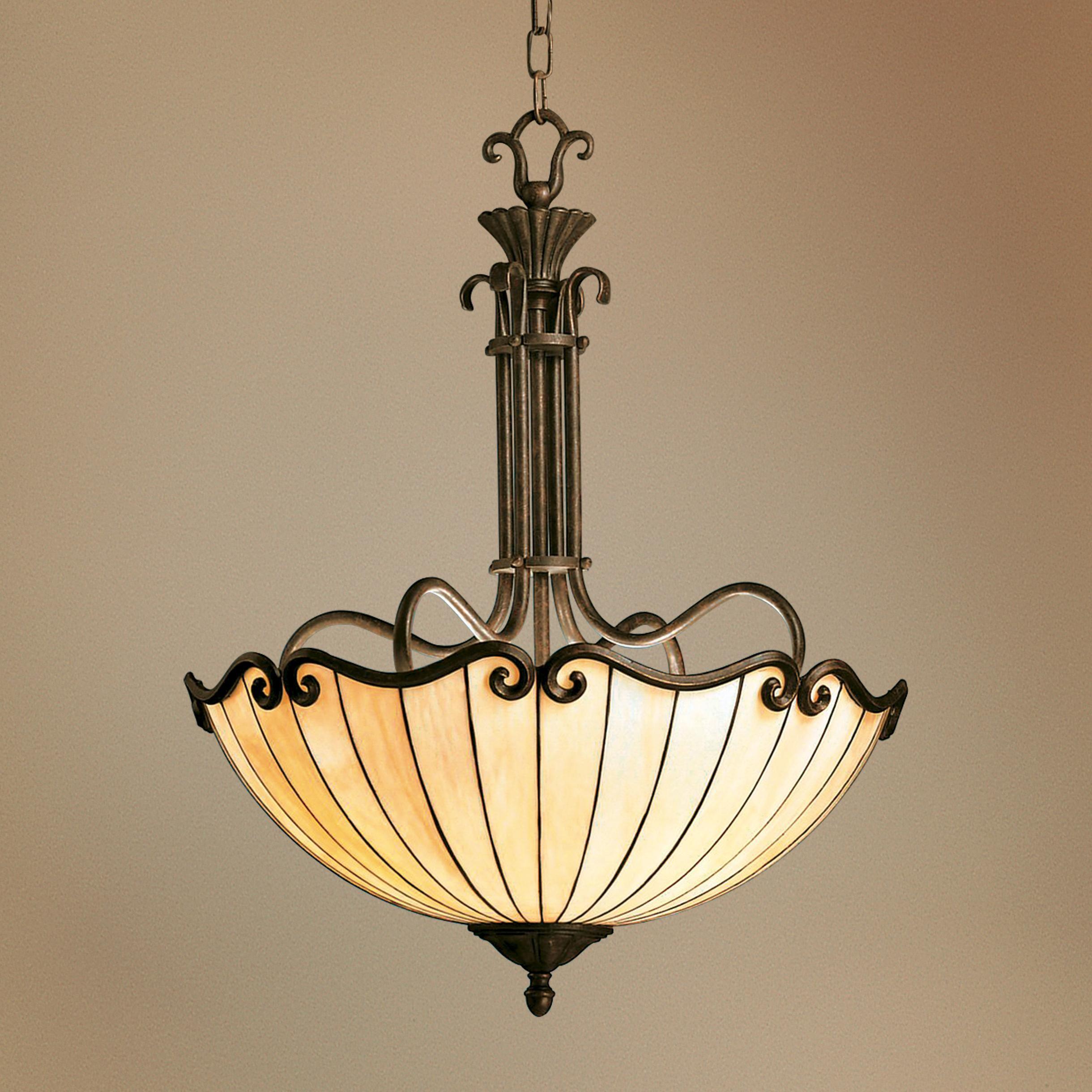 Art Nouveau Tiffany Style Bowl Chandelier Antique Light