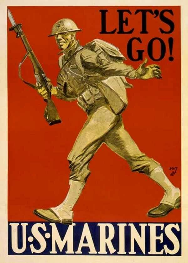 U S Marines Corps Recruiting Posters From Ii War Marine Poster Military Poster Ww1 Propaganda Posters