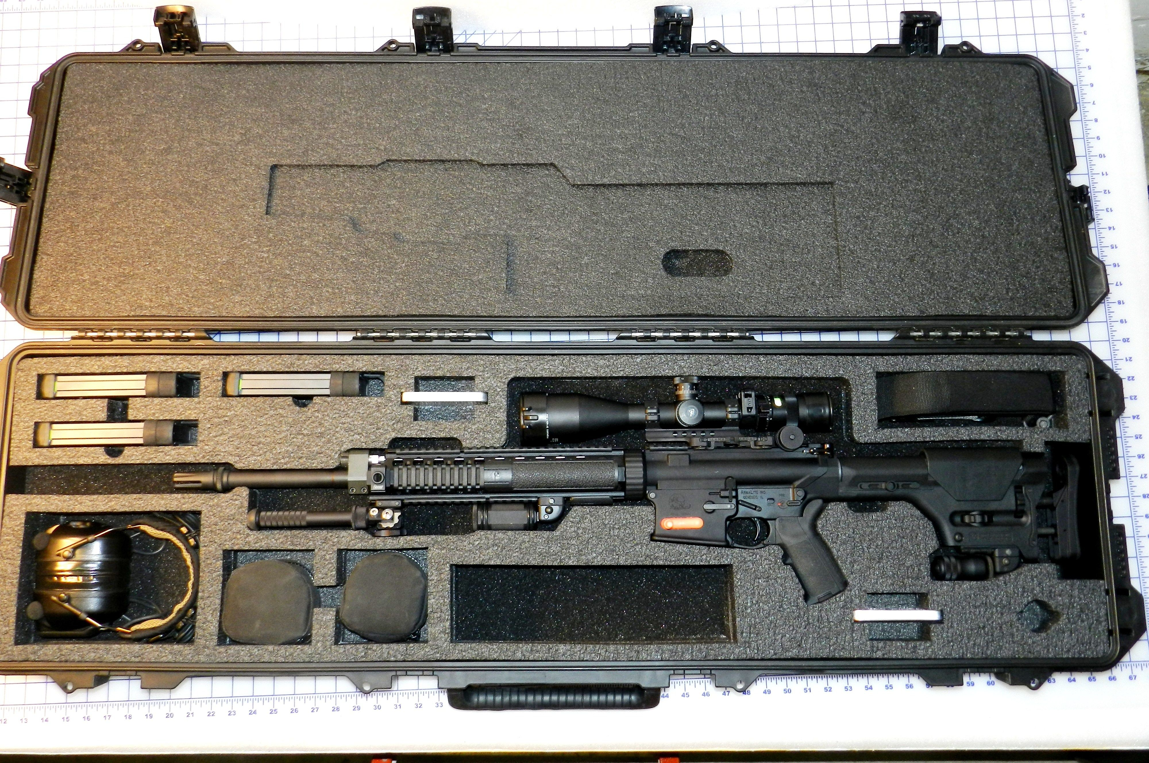 Armalite Super Sass AR10  Pelican Cases Custom Foam