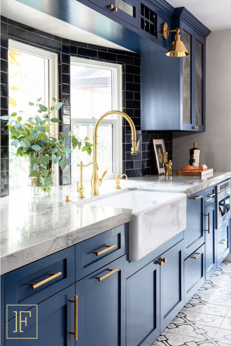 Blue Cabinets Kitchen Design Small Kitchen Renovation Kitchen Remodel