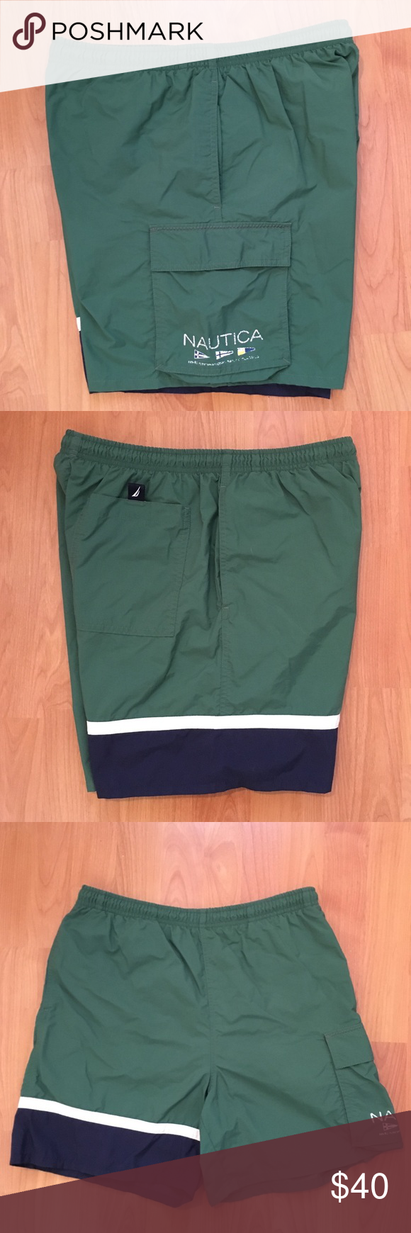 dcea11ec6c6d5 Vtg Nautica Men's Cargo Spell Out Swim Trunks S Vintage Nautica Men's Cargo Swim  Trunks.