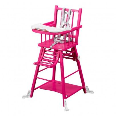 Combelle Convertible High Chair Fuschia Varnish One Size Organic Varnished Finishings Im Convertible High Chair Pink High Chair Leather Chaise Lounge Chair