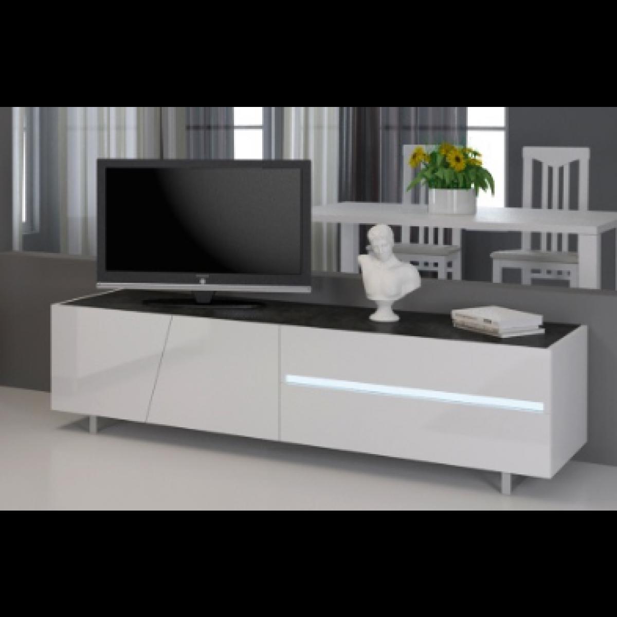 meuble tv laque blanc 160 cm cooper