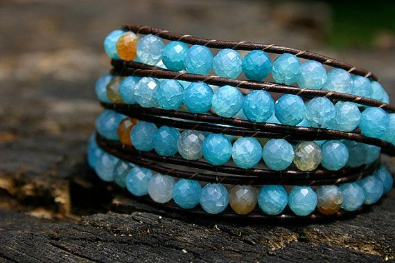 Kybele  Blue Lace Agate Wrap Bracelet on Brown Greek by dnzsea, $128.00