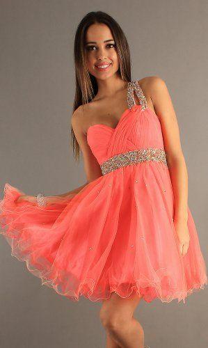 Coral Pleated Gold Sequin Short One Shoulder Dress | dresses ...