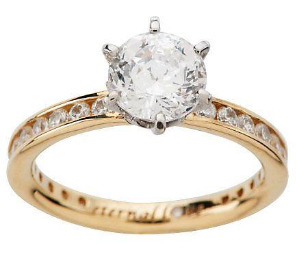 Diamonique 100 Facet 2 05 Cttw Eternal Love Ring 14k Gold Qvc Com Rose Gold Ring Set Love Ring Delicate Gold Ring