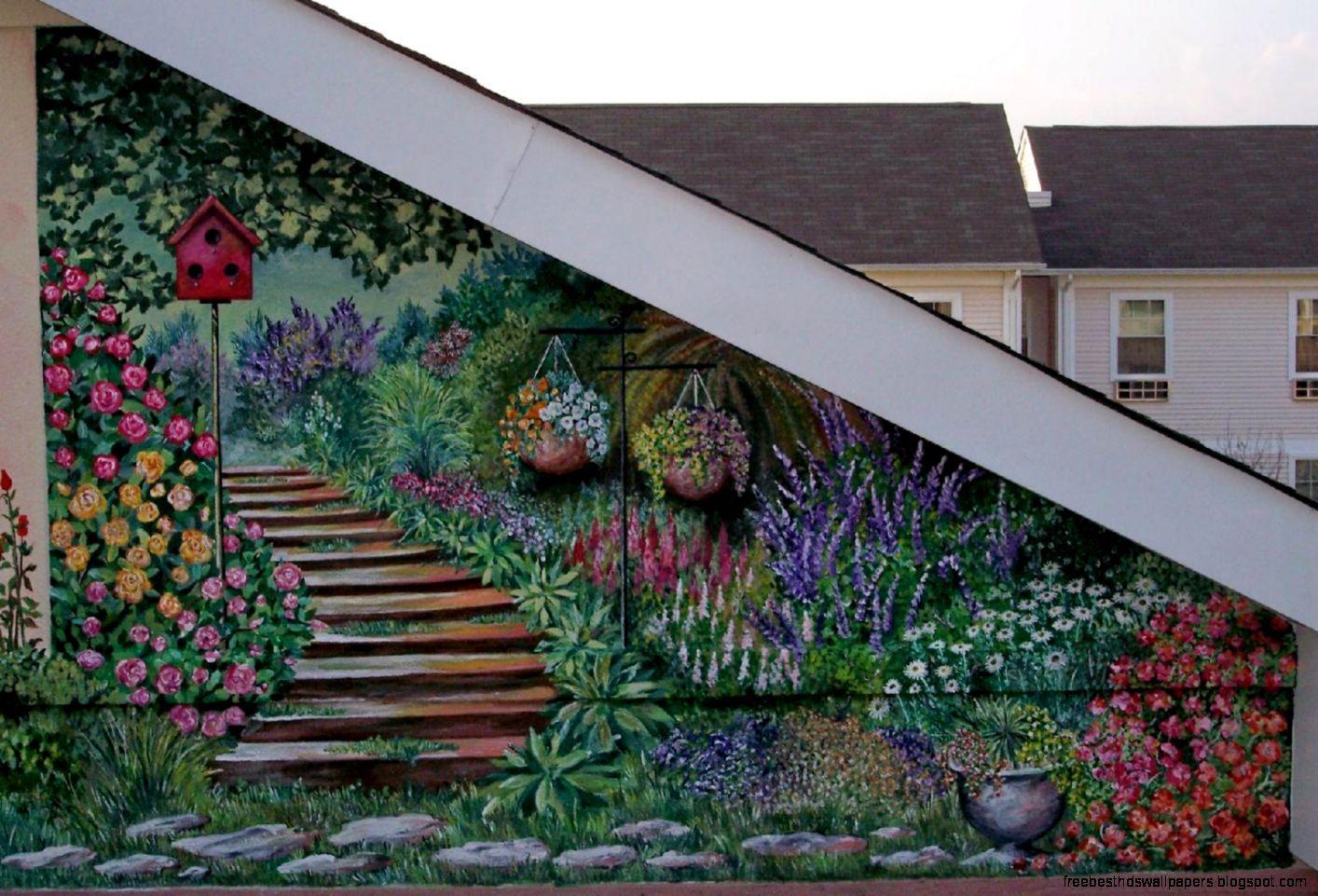 10 Garden Wall Murals Ideas Incredible As Well As Stunning Garden Mural Outside Wall Paint Garden Wall Art