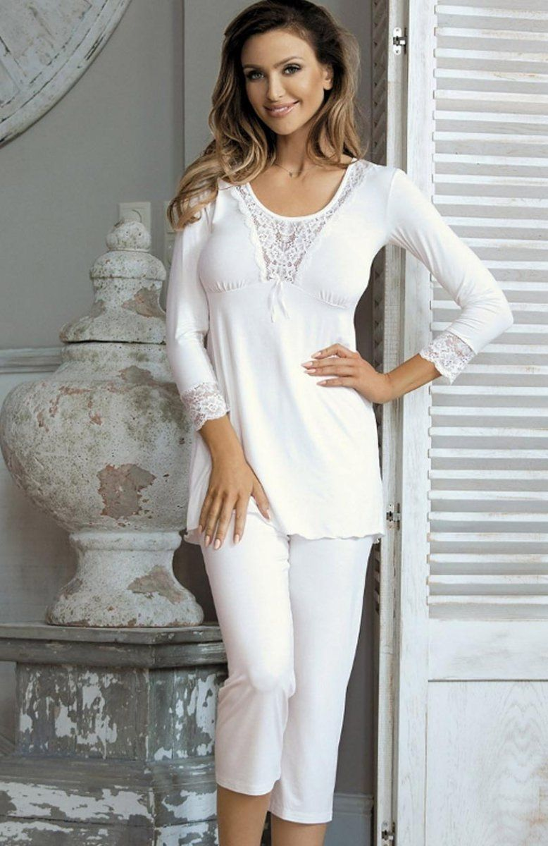 07bbf22a82902d Babella Lori piżama Komfortowa piżama damska, bluzka z długim rękawem,  ozdobiona koronką