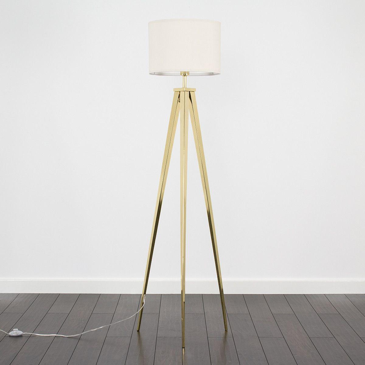 Nero Gold Tripod Floor Lamp Cream Shade   Gold tripod