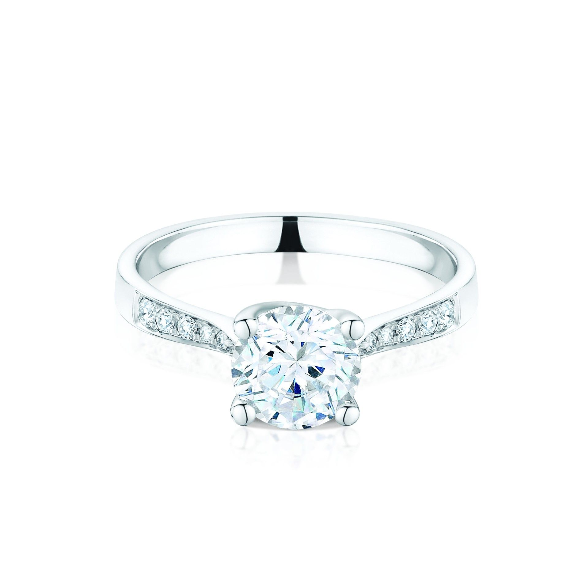 Esme Platinum 1.03ct Diamond Solitaire Ring With Diamond Set Shoulders - Jewellery - Laing Edinburgh