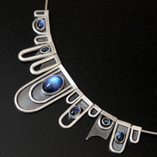 Big Blue-Moonstone Necklace by Abi Cochran - silverspirals.co.uk