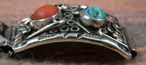 Photo of Item #761F- Heavy Vintage 50's-60's Navajo Turquoise Coral Scrolls Watchband —*Native American Men's Watch Bands- EAGLE ROCK TRADING POST-Native American Jewelry