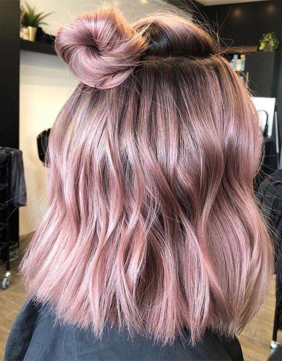 Soft Dimensional Pink Hair For Wedding In 2019 Hair Styles Short Hair Bun Elegant Short Hair