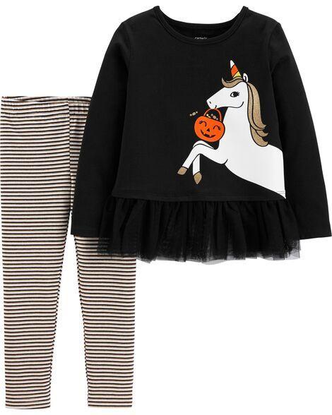 2-Piece Glow Halloween Unicorn Top & Striped Legging Set #stripedleggings