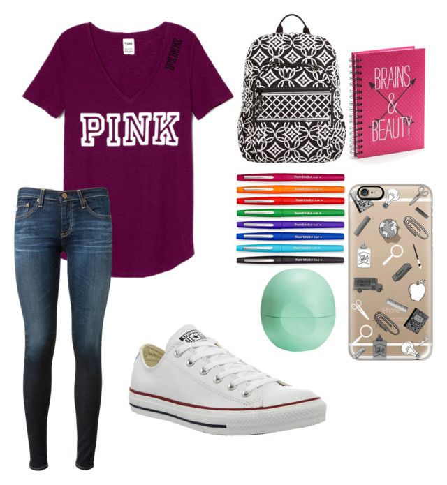 """""""Untitled #24"""" by embozant on Polyvore featuring AG Adriano Goldschmied, Converse, Vera Bradley, Simple Pleasures, Paper Mate, Casetify and Eos"""