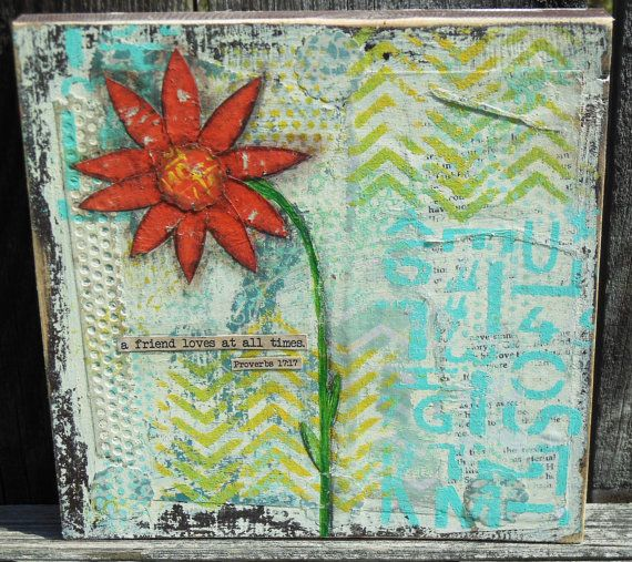 Original Mixed Media Painting A Friend Loves by BlueLilyDesign1, $18.00