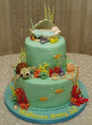 baby shower cakes ocean theme  under the sea baby shower  party, Baby shower invitation