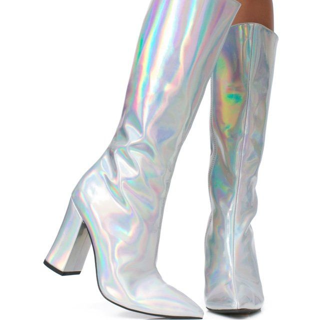 6705cfd4cdf Holographic boots from Dollskill x Current Mood🤩 US 8! 💃🏻 - Depop