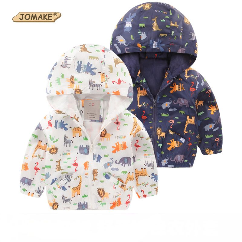 1a49bf327 Cartoon Animals Printed Boys Hooded Jacket Spring 2017 New Brand ...