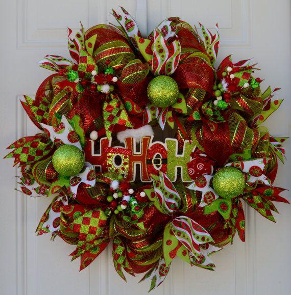 HoHoHo Christmas Wreath Christmas Holiday by WelcomeHomeCreative