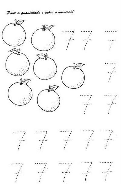 Numerais - Números de 0 a 10 para cobrir e colorir Número 0 - cobrir ...