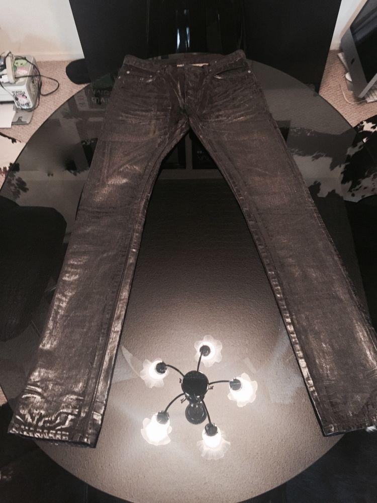 07e4c94b8f073 Rare Dior Homme Hedi Slimane Grey Black Heavey Waxed Skinny Jeans size 30…