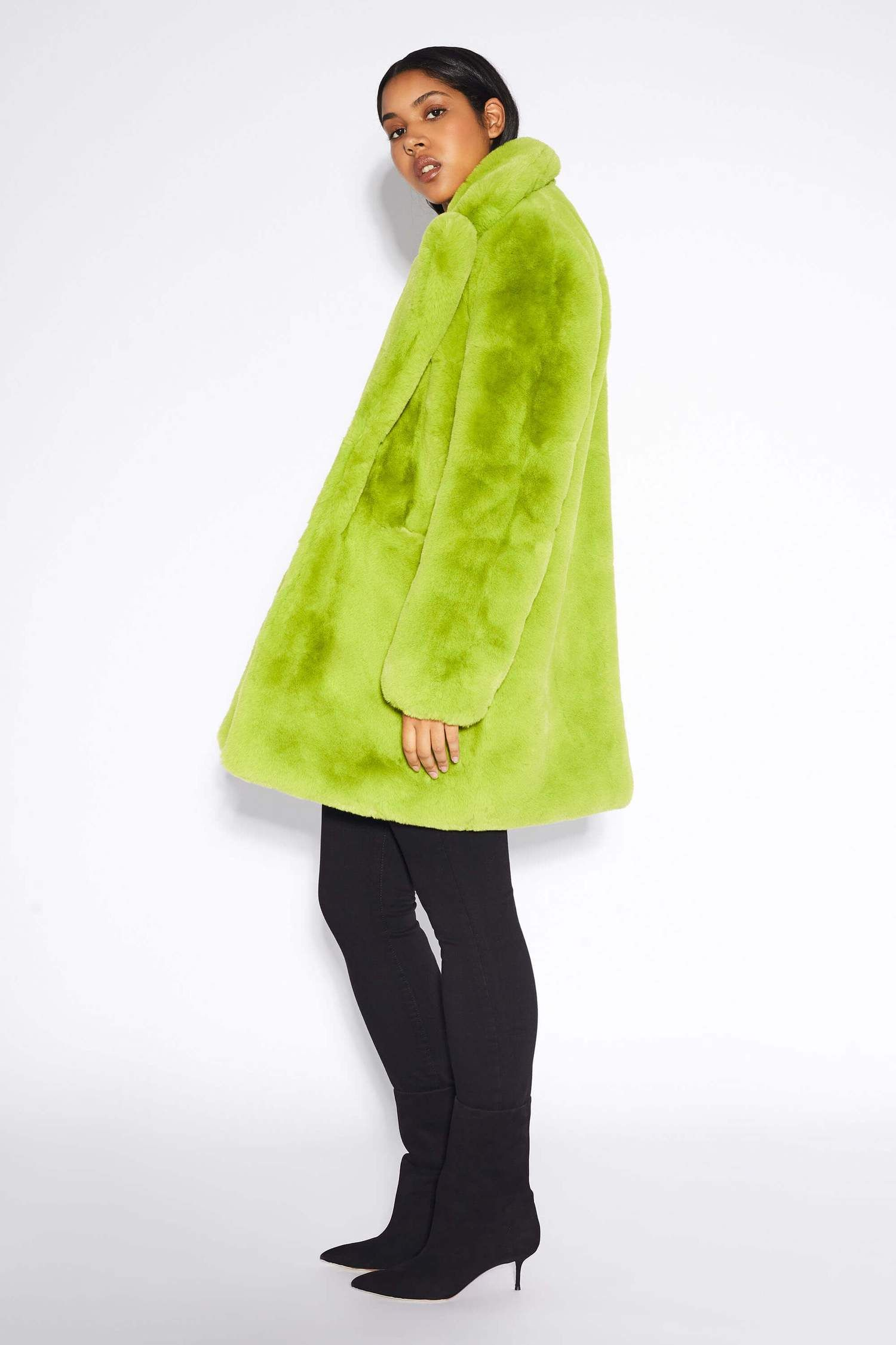 Sophie Neon Green | Faux fur medium length coat – Apparis