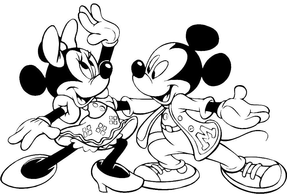 Stampa disegno di topolino e minnie ballerini da colorare