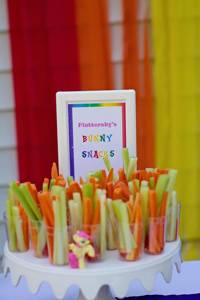 My Little Pony Birthday Party- Food Idea- Fluttershy's Bunny Snacks. Fluttershy's pet is Angel Bunny. (KarasPartyIdeas)