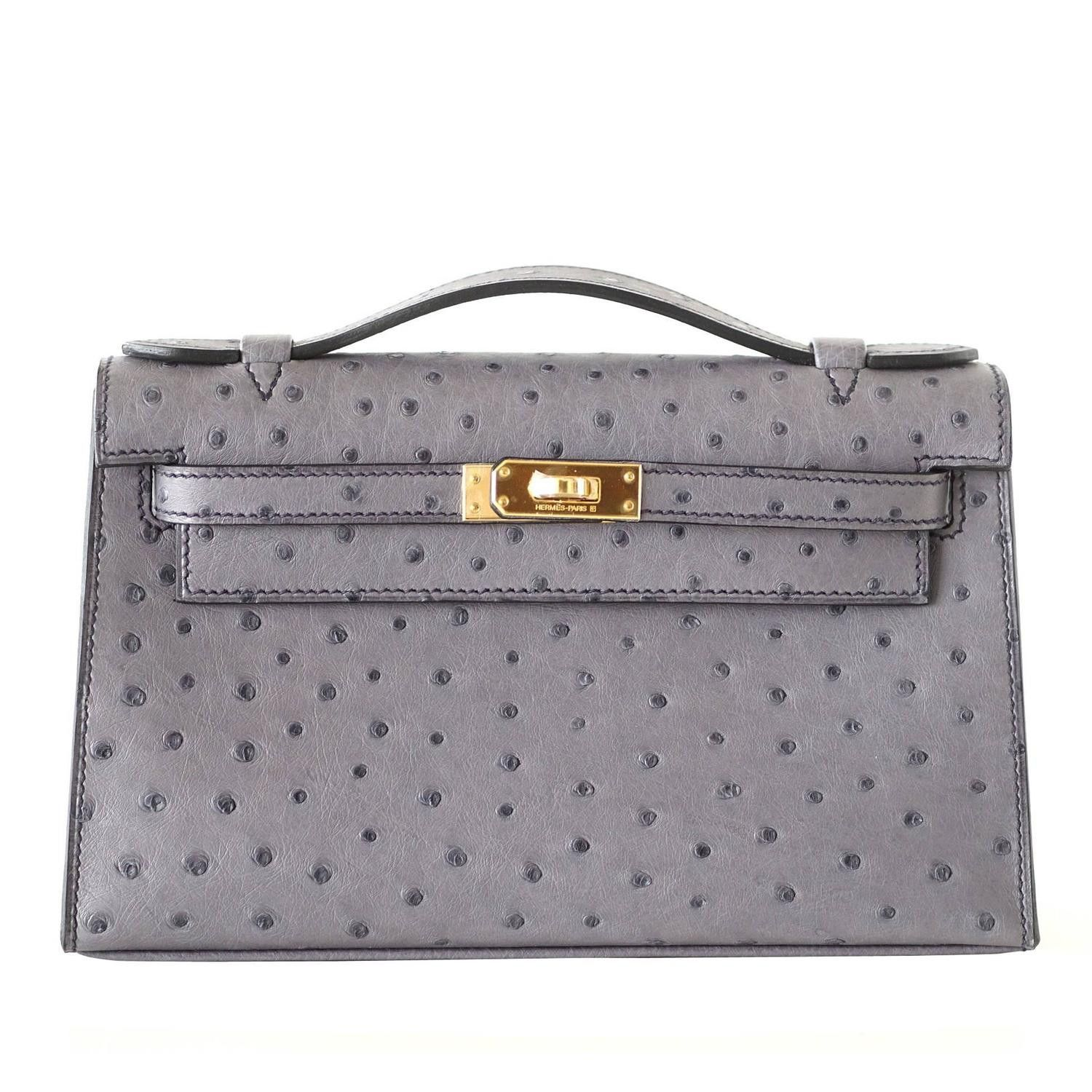 f5cd1a7d9e93 Hermes Kelly Pochette Clutch Bag Ostrich Gris Agate Gold Hardware ...