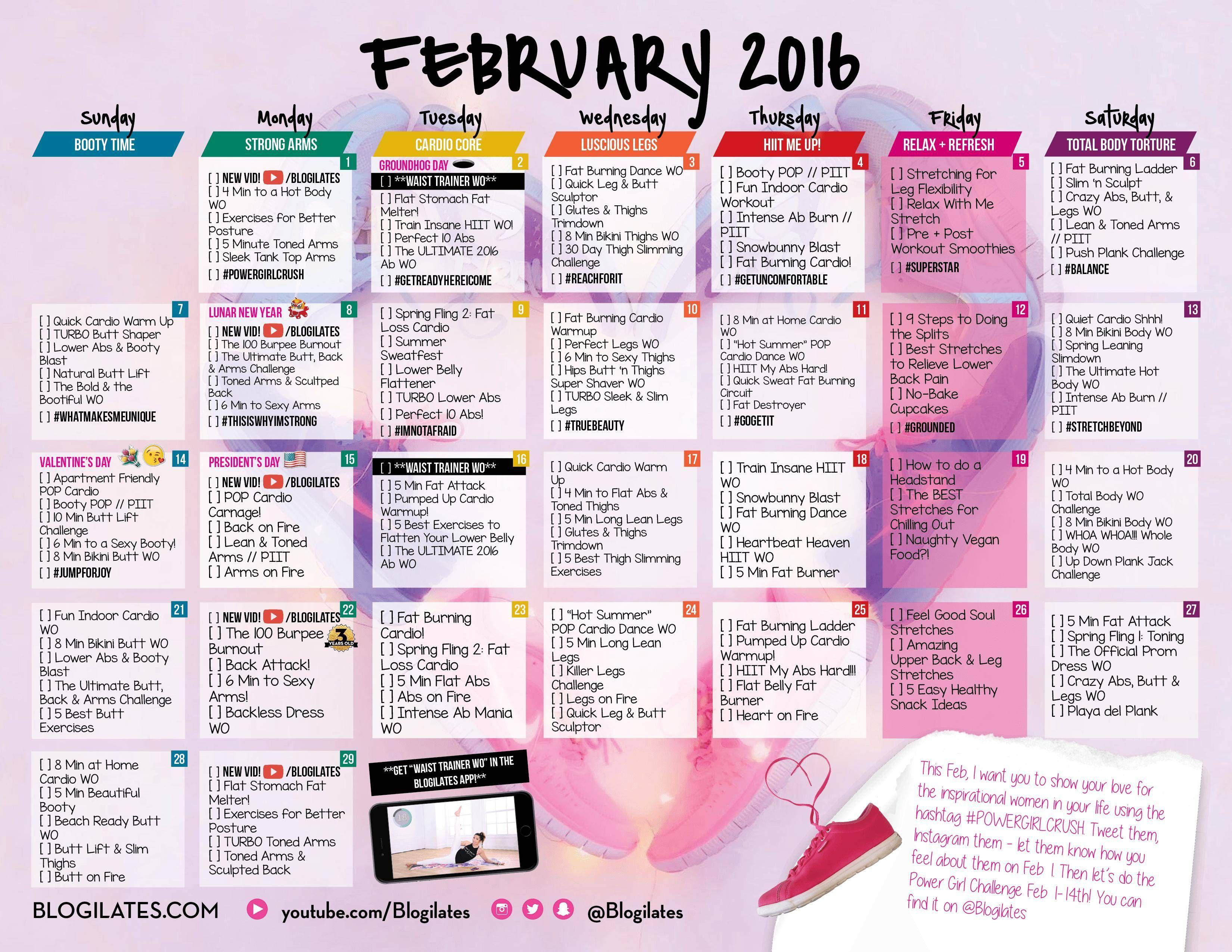 Blogilates February 2016 Workout Calendar Fitness Pinterest